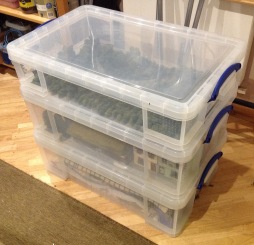 33L box at the top, with two 50L boxes below