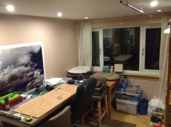 Table now up against wall, second desk (nee cat bed) to be cut down for new toys (watch this space:)