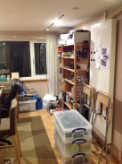 Now have floor space woo! but still need to clear out some more chairs, terrain, boxes, etc.