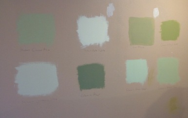 Colour sample wall - yup green